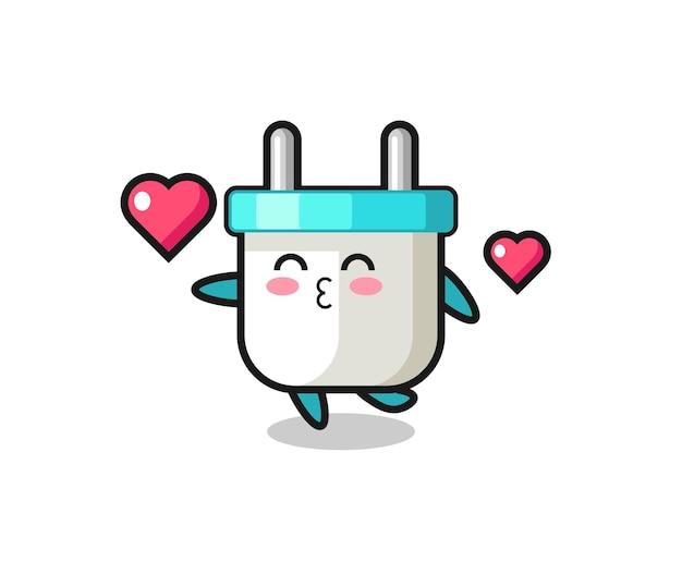 Elektrische stekker karakter cartoon met kussende gebaar