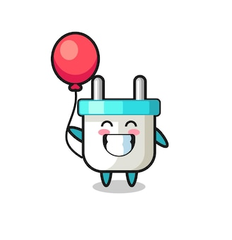 Elektrische stekker mascotte illustratie speelt ballon