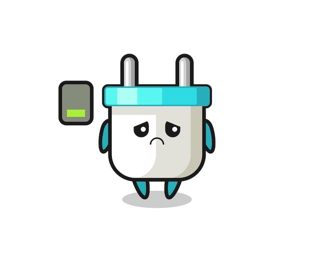 Elektrische stekker mascotte karakter doet een vermoeid gebaar