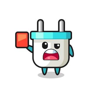 Elektrische stekker schattige mascotte als scheidsrechter die een rode kaart geeft, schattig stijlontwerp voor t-shirt, sticker, logo-element