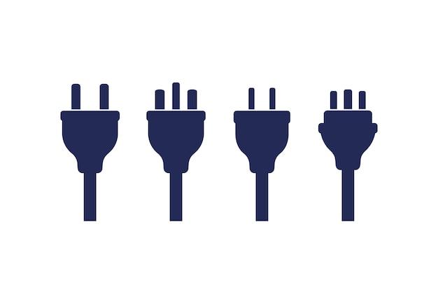Elektrische stekkers op wit, vector set