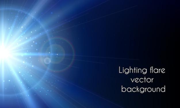 Elektrische sterflitser. abstracte verlichting flare vector achtergrond. uitstraling heldere hemel