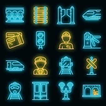 Elektrische treinbestuurder pictogrammen instellen. overzicht set van elektrische treinbestuurder vector iconen neon kleur op zwart