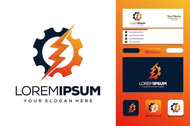 Elektrische versnelling logo ontwerp visitekaartje