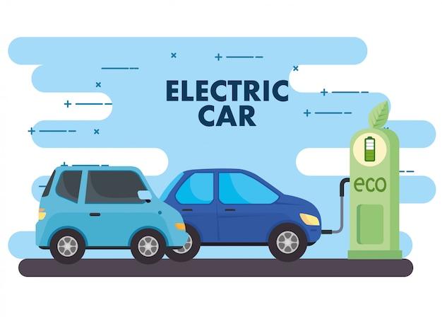 Elektrische voertuigen auto's in het laadstation weg