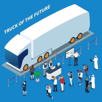Elektrische vrachtwagen presentatie isometrische samenstelling