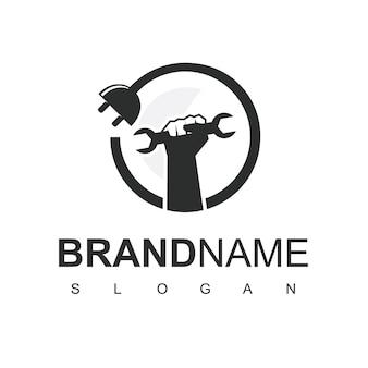 Elektrische werknemer logo ontwerpsjabloon, klusjesman symbool.