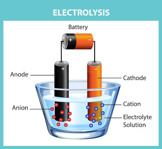 Elektrolyse-diagram-experiment voor het onderwijs
