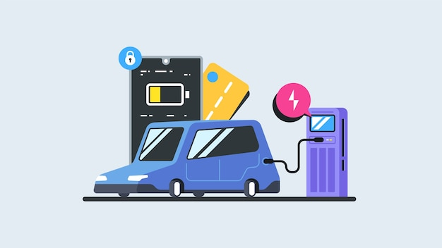 Elektromobiliteit e-motion concept. vlakke afbeelding van een elektrische auto die wordt opgeladen op het punt van het laadstation. moderne illustratie.