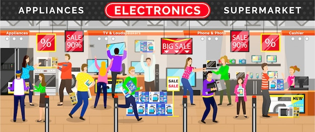 Elektronica-apparaten supermarkt, winkel