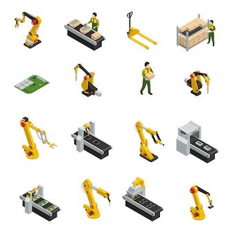 Elektronika fabrieks isometrische elementen met robotachtige machines en transportband van versieproduct