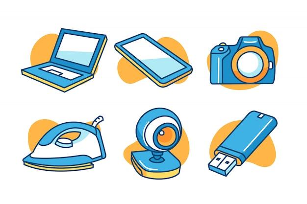 Elektronisch apparaat icon set