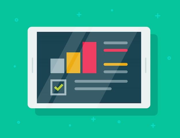 Elektronisch auditonderzoeksrapport op tablet of financiële analysegegevens op scherm vlakke cartoon