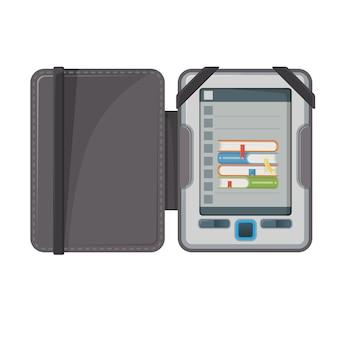 Elektronisch boekapparaat maakt publicaties beschikbaar in digitale vorm, e-book met tekst en afbeeldingen