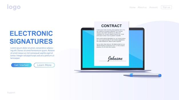 Elektronisch contract of digitaal handtekeningconcept telefonisch online een elektronisch contract ondertekenen
