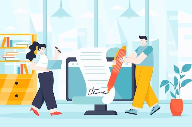 Elektronisch contractconcept in vlakke ontwerpillustratie van personenkarakters voor bestemmingspagina