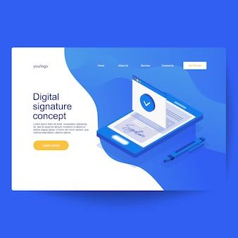 Elektronisch digitale handtekeningconcept. digitale slimme contract isometrische samenstelling