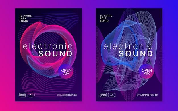 Elektronisch evenement. dynamische vloeiende vorm en lijn. stoere discotheek tijdschriftenset. neon elektronisch evenement. electro dance dj. trance-geluid. clubfeest poster. techno muziek feest flyer.