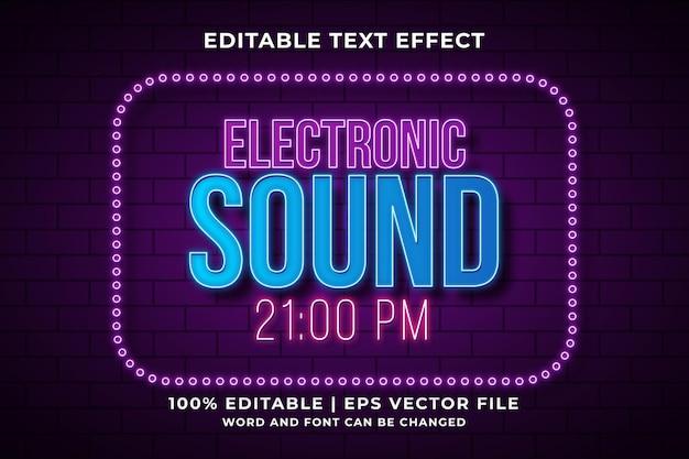 Elektronisch geluid bewerkbaar teksteffect neon 3d-sjabloonstijl premium vector