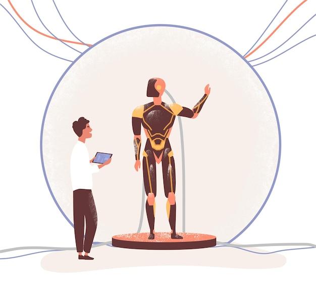 Elektronisch ingenieur en robot vlakke afbeelding. wetenschapper en humanoïde machine stripfiguren.