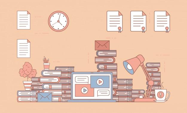 Elektronisch leerplatform op laptop scherm en bureau met boeken en cartoon overzicht illustratie.