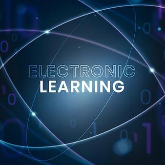 Elektronisch leren onderwijs sjabloon vector technologie social media post