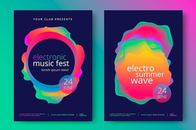 Elektronisch muziekfeest en electro zomergolfaffiche. club partij flyer.