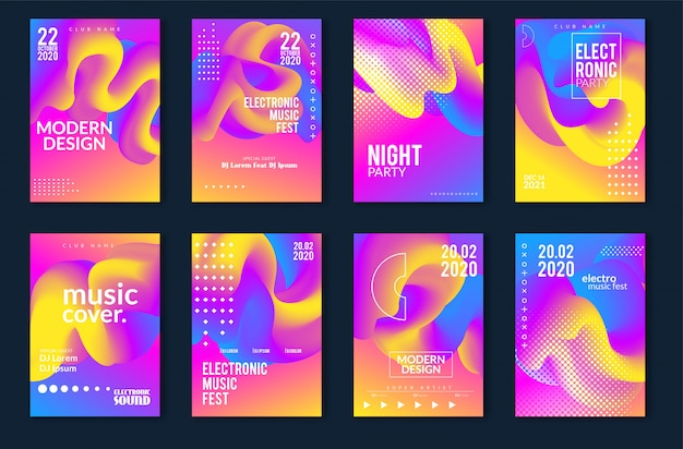 Elektronisch muziekfestival minimaal posterontwerp. moderne kleurrijke stippellijnenachtergrond voor vlieger, dekking. vector illustratie