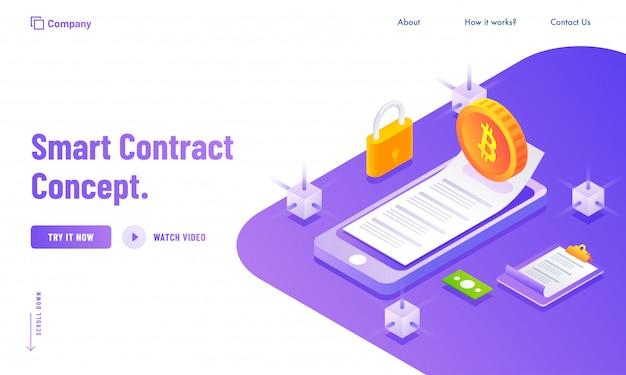 Elektronisch smart contract of digitaal concept