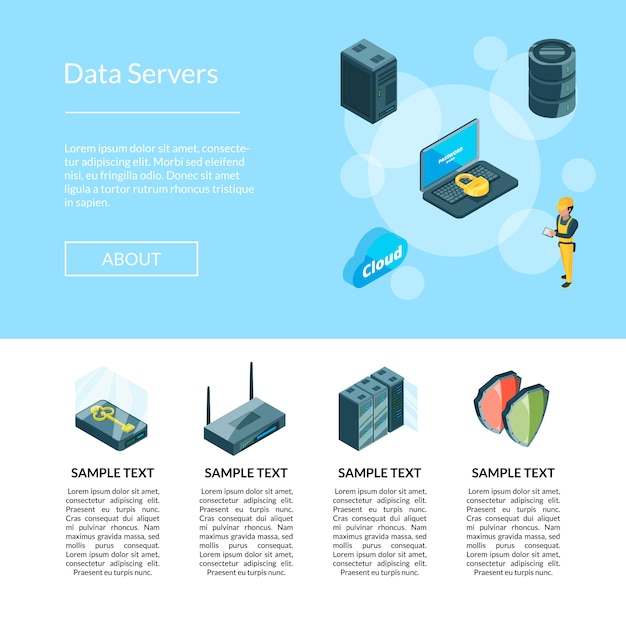 Elektronisch systeem van datacenter pictogrammenpagina