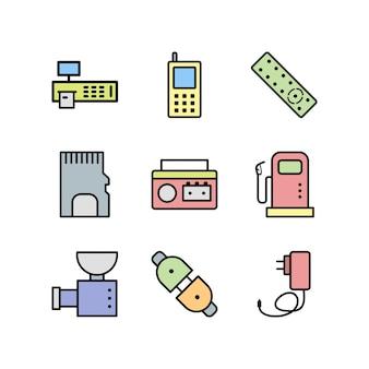 Elektronische apparaten pictogrammen blad geïsoleerd op een witte achtergrond