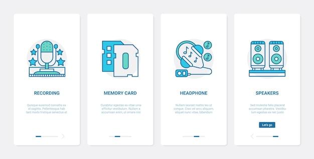 Elektronische apparaten voor het afspelen van muziekopnames, ux ui mobiele app-paginaschermset