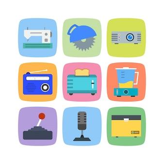 Elektronische apparatenpictogrammen die op wit worden geïsoleerd