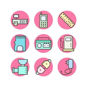 Elektronische apparatenpictogrammen voor persoonlijk en commercieel gebruik