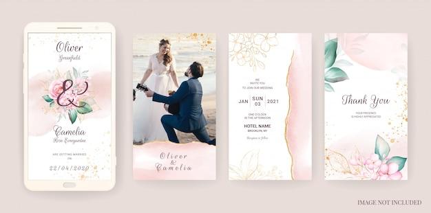 Elektronische bruiloft uitnodiging kaartsjabloon ingesteld met aquarel en gouden bloemen. bloemen illustratie voor verhalen van sociale media
