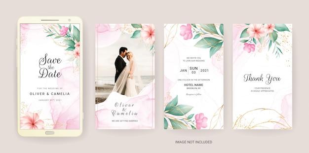Elektronische bruiloft uitnodiging kaartsjabloon ingesteld met waterverf en goud bloemen.