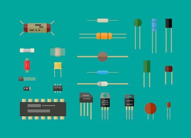 Elektronische componenten, schakelset.