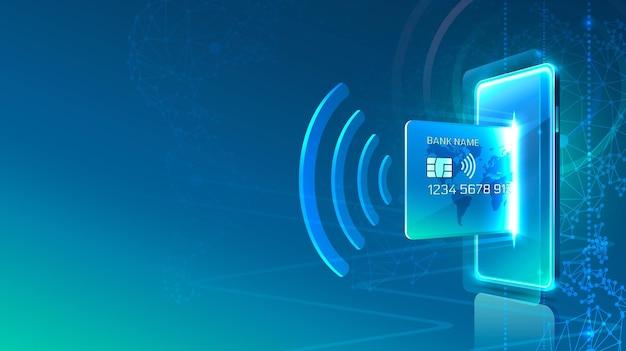 Elektronische creditcard en telefoonpictogram, financiële technologie, blauwe achtergrond.