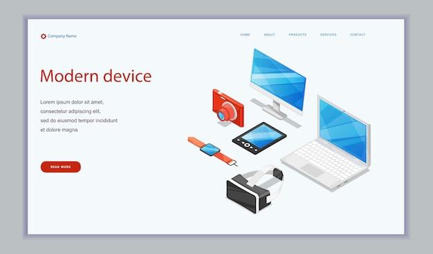 Elektronische digitale apparaten - laptop, tabletcomputer, monitor en slimme klokken fotocamera.