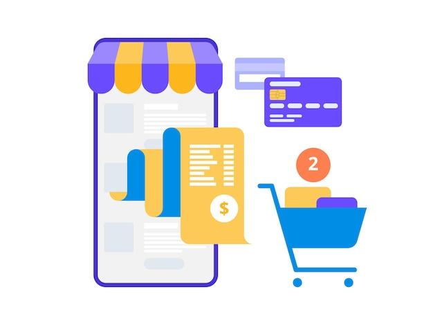 Elektronische factuurbetaling plat concept van mobiel betalen, winkelen, bankieren