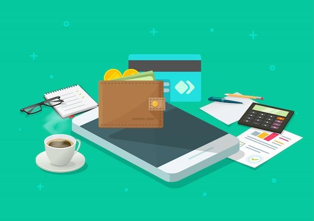 Elektronische geldcontrole via mobiele telefoon of mobiele telefoon of smartphone online portemonnee contant geld cartoon
