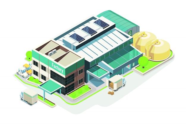 Elektronische groene economie fabriek isometrisch