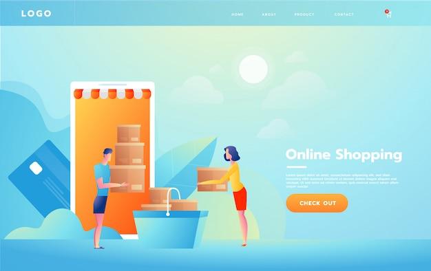 Elektronische handel of online het winkelen concept met handen die uit het computerscherm bereiken die een het winkelen product houden.
