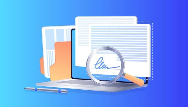 Elektronische handtekening op laptop zakelijke esignature-technologie verificatie van intentie om te ondertekenen