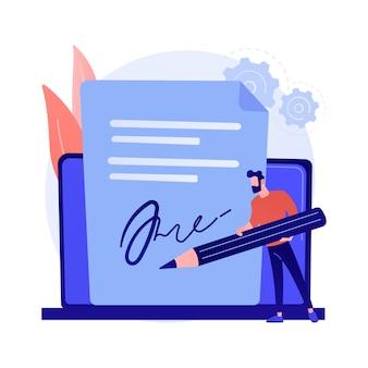 Elektronische handtekeningtechnologie. bedrijfsvalidatie, digitale ondertekening, elektronische documentenverificatie. virtuele overeenkomstbevestiging.