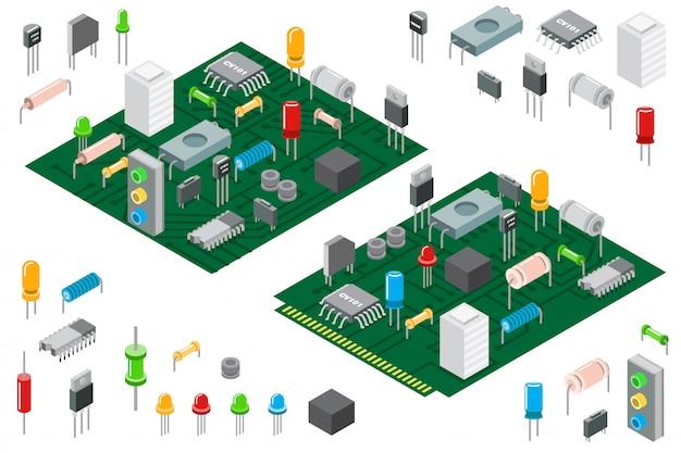 Elektronische hardwarecomponenten en geïsoleerde isometrische illustratie van de geïntegreerde printplaat