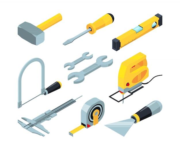 Elektronische hulpmiddelen voor de bouw. isometrische afbeeldingen ingesteld