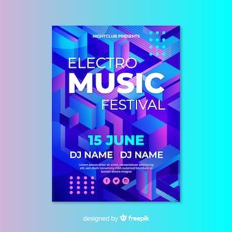 Elektronische muziek 3d effect poster sjabloon