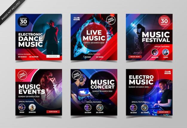 Elektronische muziek concert instagram post collectie sjabloon