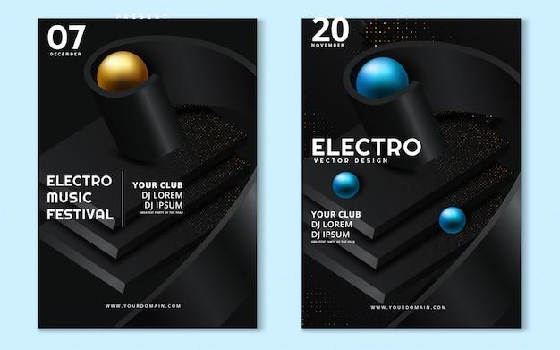 Elektronische muziek fest en electro zomer wave poster.